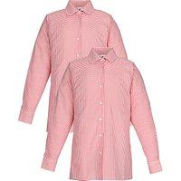 School Girls' Long Sleeve Blouse, Pack of 2, Red/White