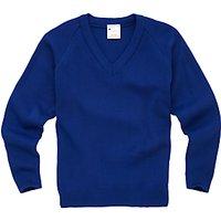 Plain Unisex School V-Neck Jumper, Royal Blue