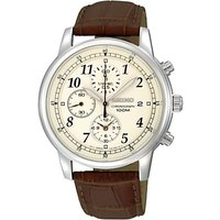 Seiko SNDC31P1 Mens Chronograph Leather Strap Watch, Brown/Cream