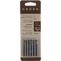 Cross Slim Fountain Pen Ink Cartridges, Pack Of 6