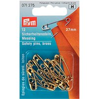 Prym Safety Pins, Brass, 27mm, Pack of 12