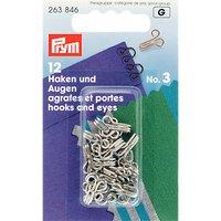 Prym Hooks and Eyes, Pack of 12