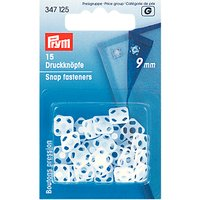 Prym Sew-On Square Plastic Snap Fasteners, 9mm, Pack of 15, White