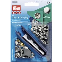 Prym Brass Sport/Camping Press Fasteners, 15mm, Pack of 10, Silver