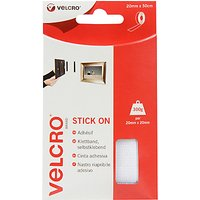 VELCRO Brand Stick On Tape, White, 20mm x 50cm