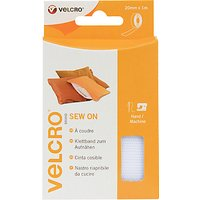 VELCRO Brand Sew-On Tape, 20mm x 1m, White