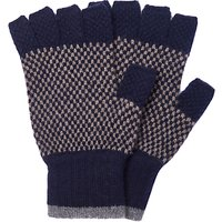 Barbour Brodie Check Lambswool Fingerless Gloves, Navy