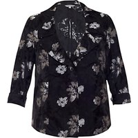 Chesca Floral Printed Jacket, Black/Silver