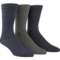Calvin Klein Flat Knit Cotton Mix Socks, Pack of 3, One Size, Navy/Grey/Black