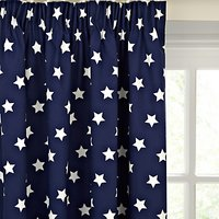 little home at John Lewis Glow in the Dark Star Blackout Lined Pencil Pleat Curtains, Navy