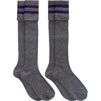 School Boys Knee Length Socks, Pack of 2, Grey/Purple