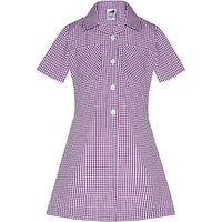 The Perse Prep School Girls' A-Line Checked Summer Dress, Purple/White