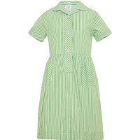 Forest Park Preparatory School Girls Striped Summer Dress, Green