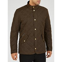 Barbour Waxed Quilted Funnel Neck Jacket, Olive