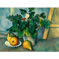 The Courtauld Gallery, Paul Cezanne - Pot of Primroses and Fruit 1888-1890 Print