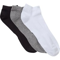 John Lewis Liner Socks, Pack of 3, Black/Grey/White