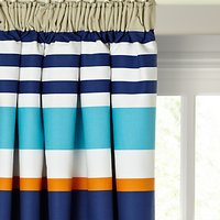 little home at John Lewis Waves & Whales Striped Pencil Pleat Blackout Lined Childrens Curtains