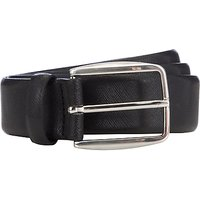 John Lewis Textured Leather Belt, Black