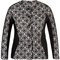 shop for Chesca Lace Trim Ottoman Jersey Jacket, Black/Ivory at Shopo