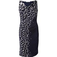 Chesca Spot Dress, Navy/White