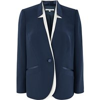 Chesca Notch Neck Satin Back Jacket, Navy