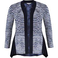 Chesca Tie Dye Stripe Fancy & Plain Jersey Cardigan, Navy