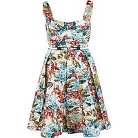 shop for Chesca Floral Print Sateen Belted Dress, Multi at Shopo