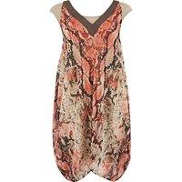 Chesca Python Print Chiffon Dress, Coral
