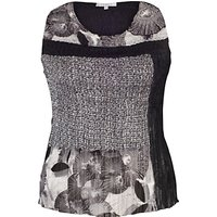 Chesca Patchwork Printed Camisole, Black/Ivory
