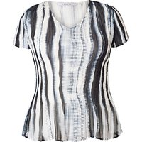 Chesca Shadow Striped Short-Sleeved Top, Ivory/Ink