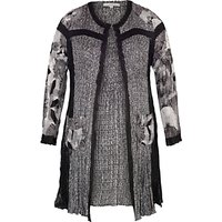 Chesca Patchwork Printed Coat, Black/Ivory, 12-14