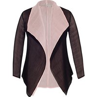 Chesca Reverse Pleated Shrug, Powder Pink/Black