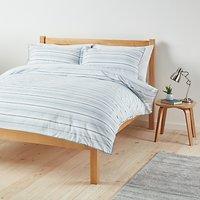 John Lewis Fine Stripe Duvet Cover and Pillowcase Set, Blue