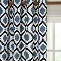John Lewis and Partners Indah Pair Lined Eyelet Curtains, Indian Blue