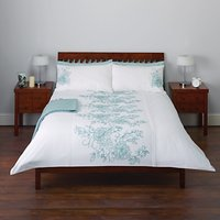 John Lewis Tilly Floral Embroidered Duvet Cover and Pillowcase Set, Duck Egg