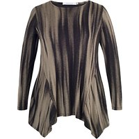 Chesca Abstract Stripe Jersey Tunic Top, Mink