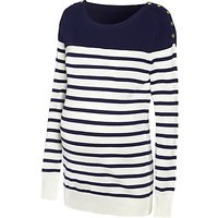 Sraphine Tilly Stripe Knit Maternity Jumper, Navy/White