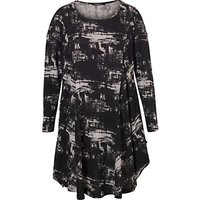 Chesca Printed Tunic Dress, Black/Grey