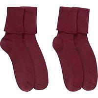 Ashfold School Ankle Socks, Pack of 2, Maroon