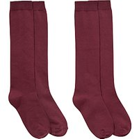 Ashfold School Knee-Length Socks, Pack of 2, Maroon