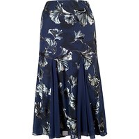 Chesca Contrast Trim Fan Print Skirt, Navy