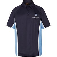 Meoncross School Boys Sports Polo Shirt, Navy/Sky Blue