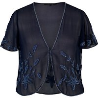 Chesca Allover Bead Bolero, Navy/Lilac