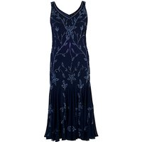 Chesca Allover Bead Dress, Navy/Lilac