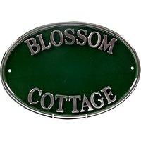 The House Nameplate Company Personalised Polished Aluminium Oval House Sign, Green