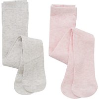 John Lewis Baby Plain Tights, Pack of 2, Grey/Pink