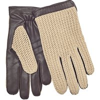 John Lewis Crochet Back Wool Lined Leather Driving Gloves, Brown