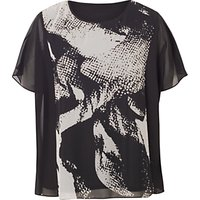 Chesca Abstract Tunic Top, Black