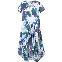 Chesca Floral Print Linen Dress, White/Blue