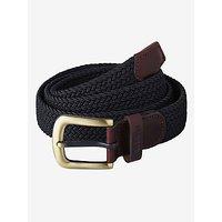 Barbour Webbing Leather Trim Belt, Navy